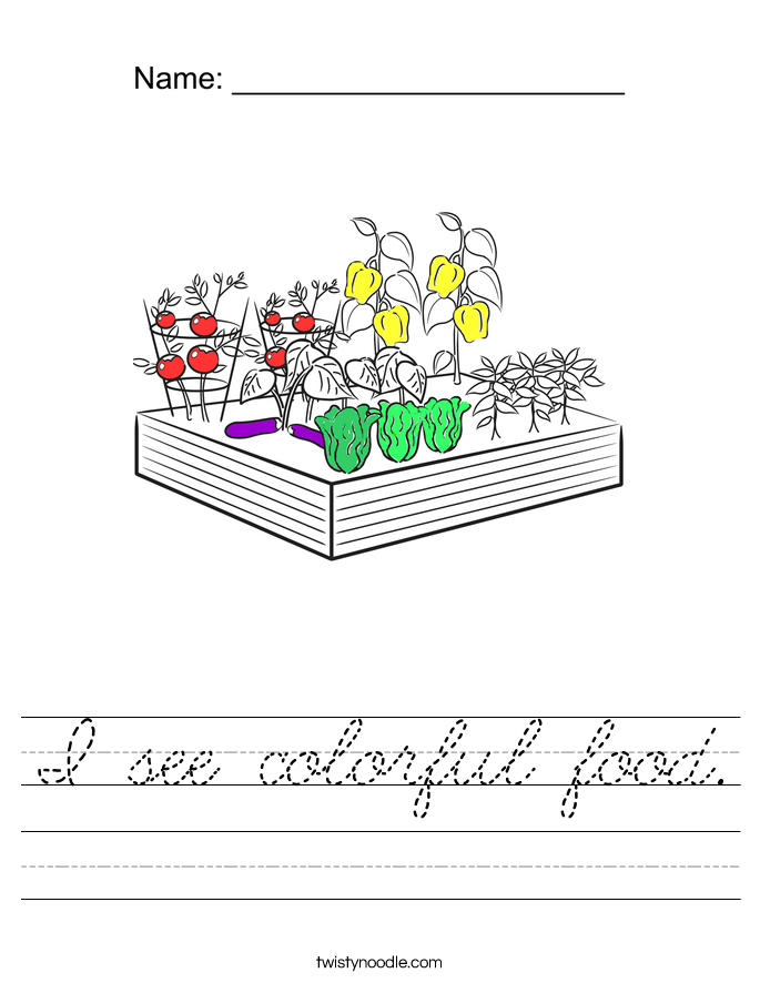 I see colorful food. Worksheet