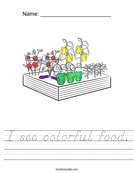 I see colorful food! Worksheet