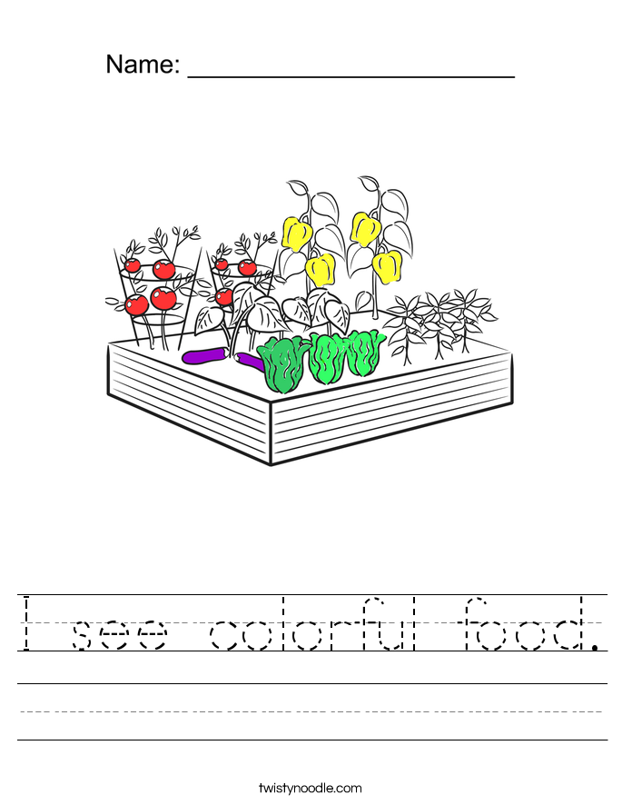 I see colorful food. Worksheet