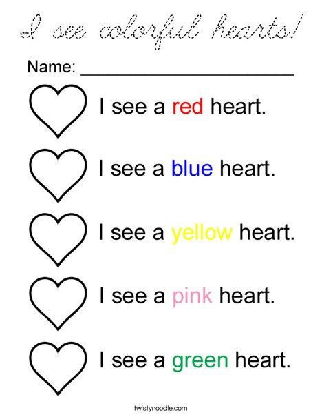 I see colorful hearts Coloring Page