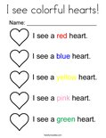 I see colorful hearts! Coloring Page