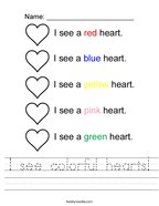 I see colorful hearts Handwriting Sheet