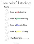 I see colorful stockings Coloring Page