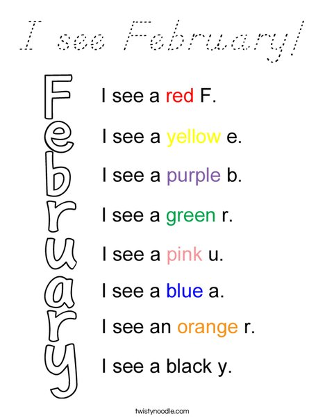 I see February! Coloring Page