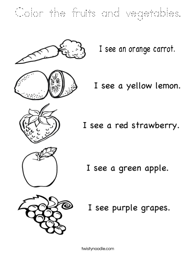 Color the fruits and vegetables