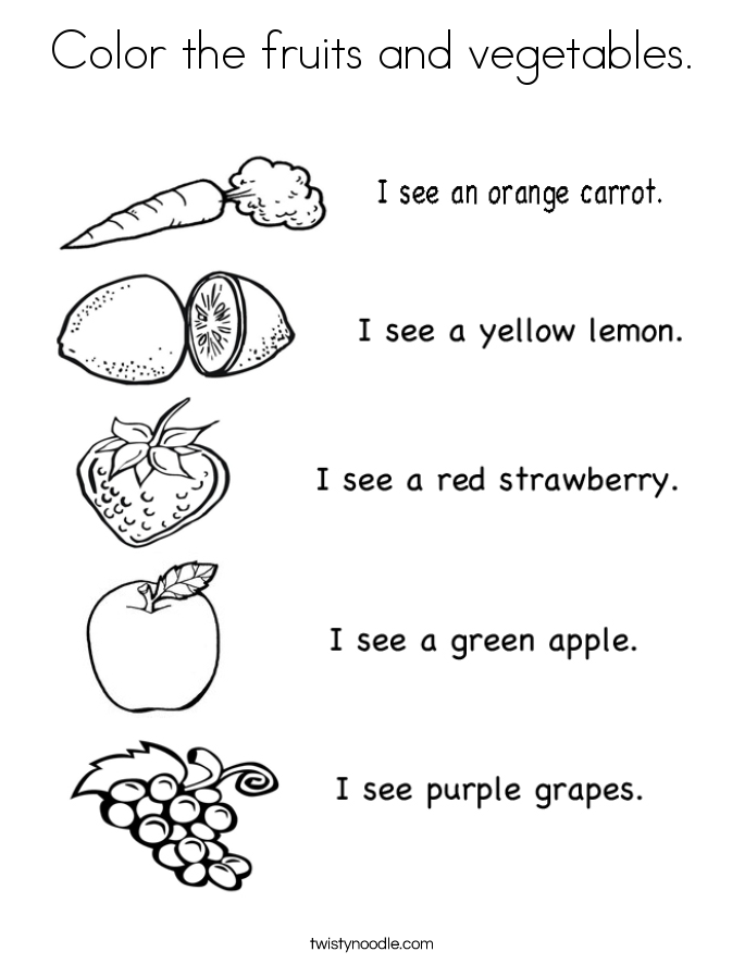 Color the fruits and vegetables. Coloring Page