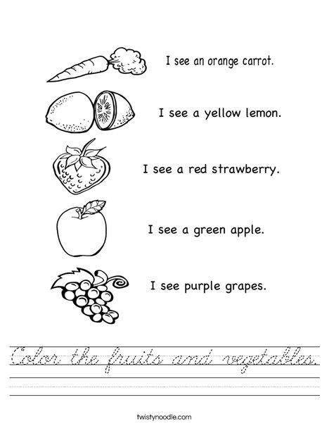 I see fruit Worksheet