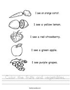 Color the fruits and vegetables Handwriting Sheet