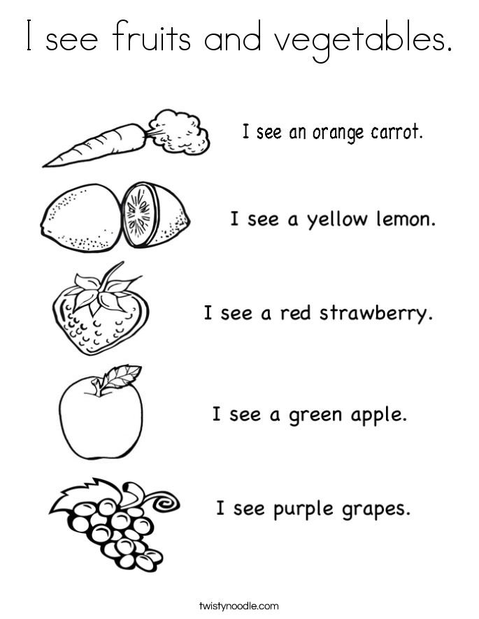 I see fruits and vegetables. Coloring Page