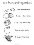 I see fruits and vegetables.Coloring Page