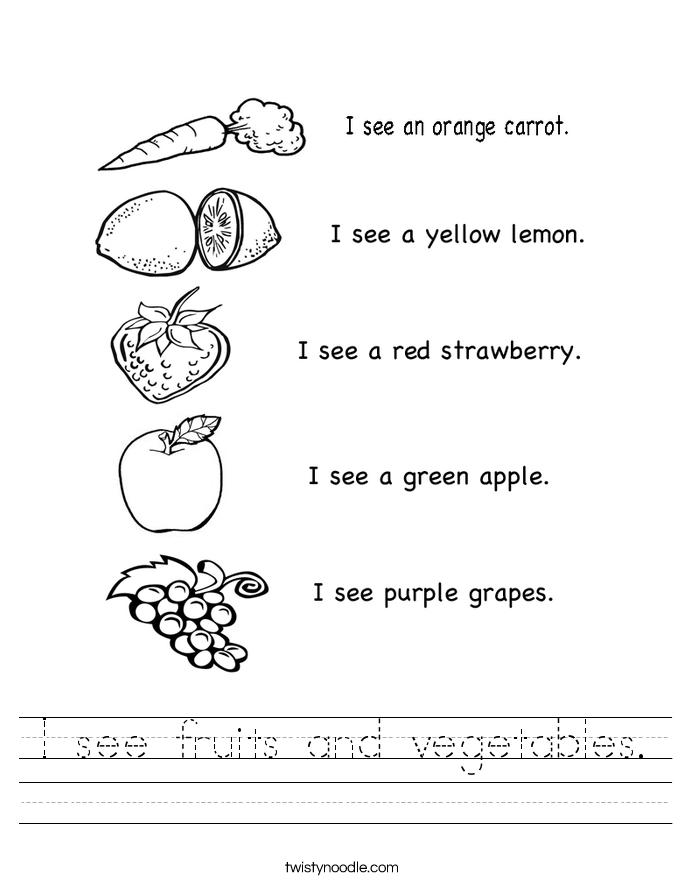 I see fruits and vegetables. Worksheet