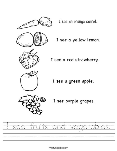see fruits and vegetables Worksheet - Twisty Noodle