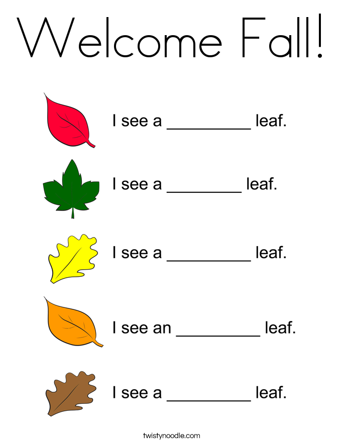 Welcome Fall! Coloring Page
