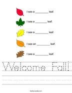 Welcome Fall Handwriting Sheet