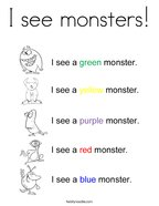 I see monsters Coloring Page