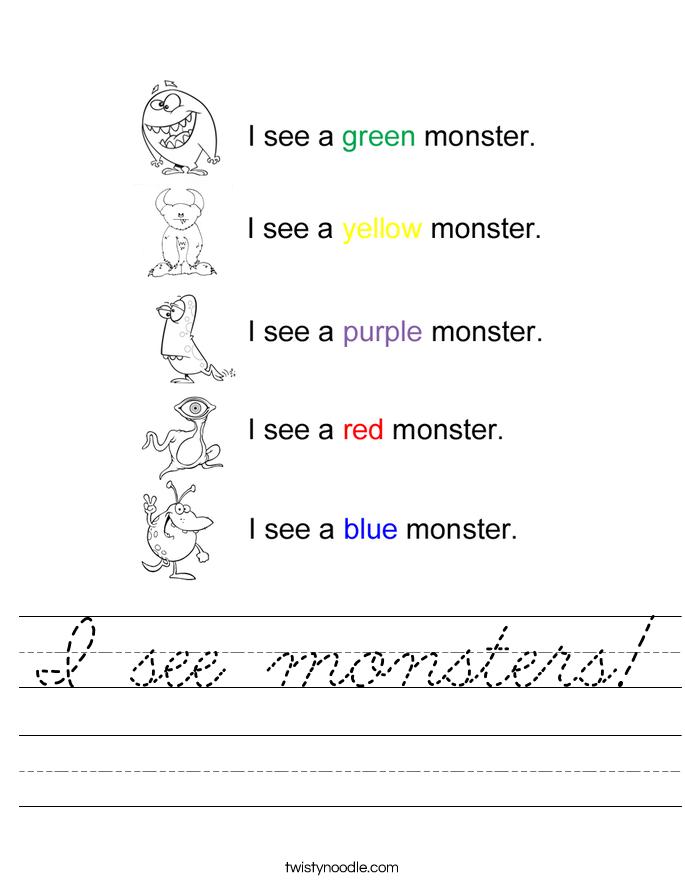 I see monsters! Worksheet