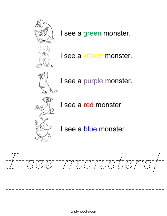 I see monsters! Worksheet