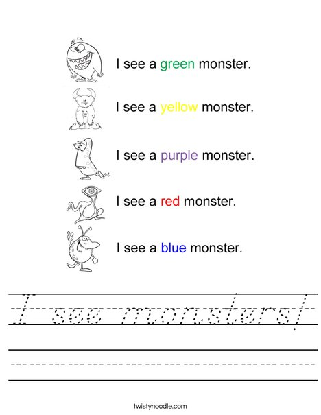 I see monsters Worksheet