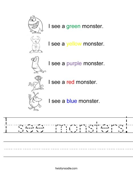 I see monsters Worksheet