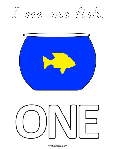 I see one fish. Coloring Page