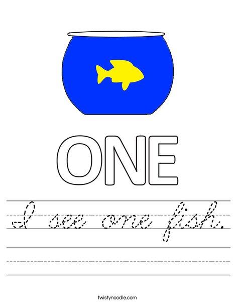 I see one fish. Worksheet