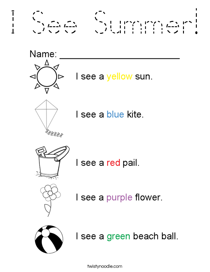 I See Summer! Coloring Page