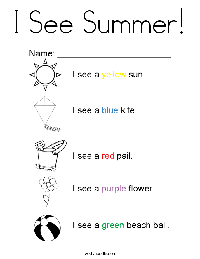 i see summer coloring page