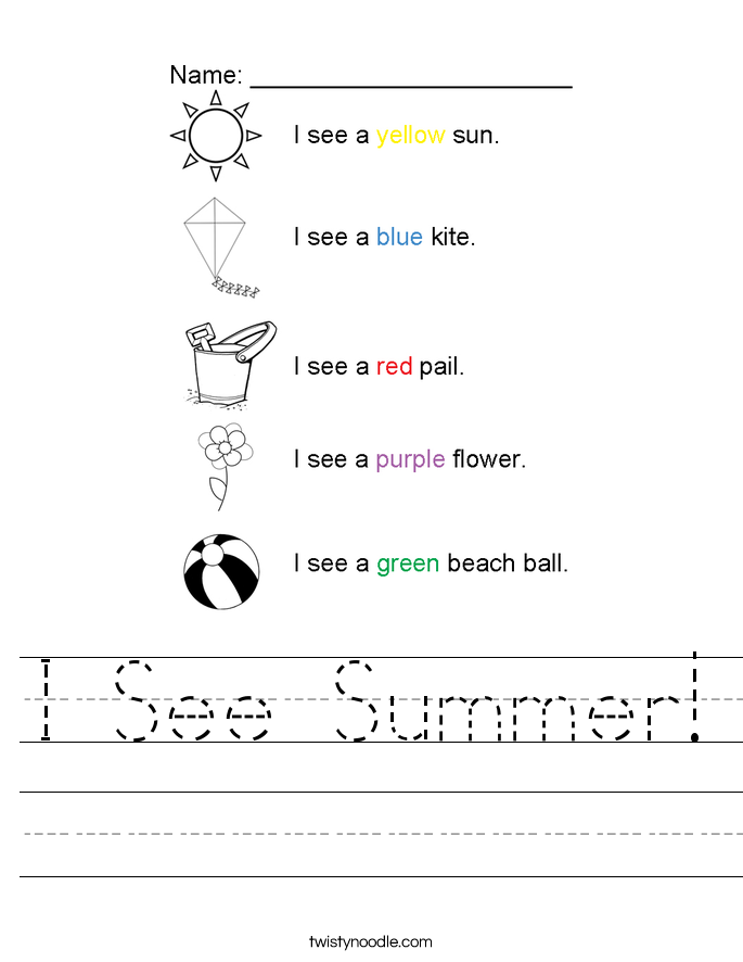 I See Summer! Worksheet