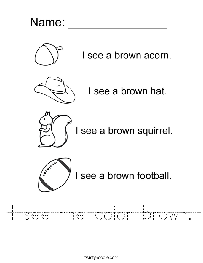I see the color brown! Worksheet