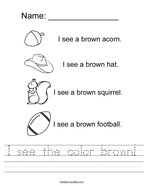 I see the color brown Handwriting Sheet