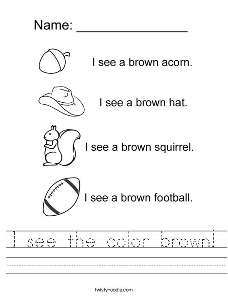 I see the color brown Worksheet