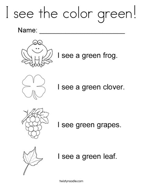 I See The Color Green Coloring Page Twisty Noodle