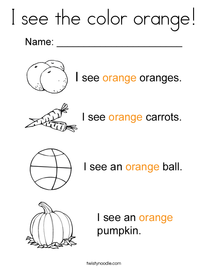 I see the color orange! Coloring Page