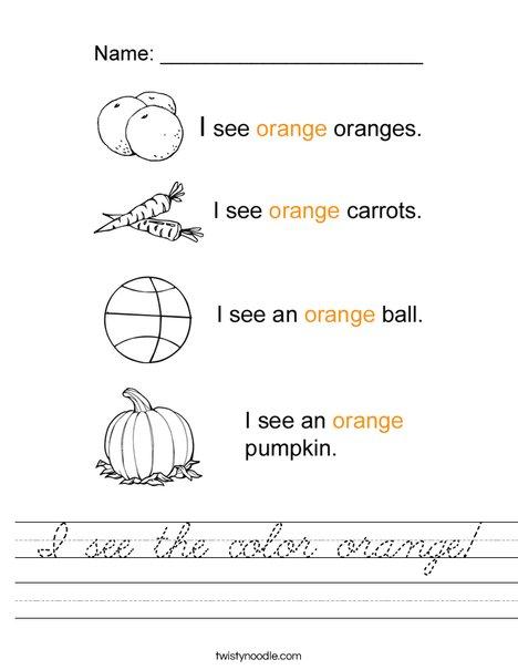 I see the color orange Worksheet