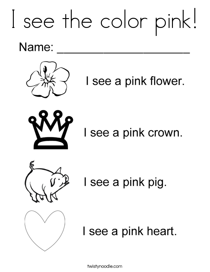 I see the color pink! Coloring Page