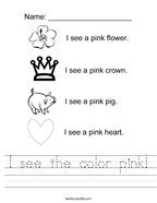 I see the color pink Handwriting Sheet