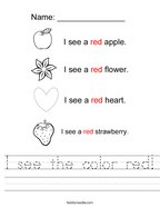 I see the color red Handwriting Sheet