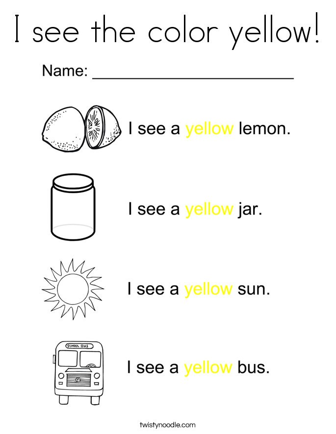 I see the color yellow! Coloring Page