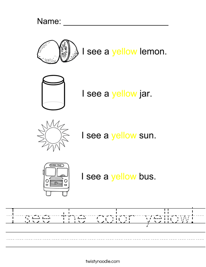 Color yellow printable - color, trace and write. | teach ideas ...