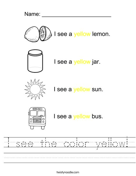 I see the color yellow! Worksheet