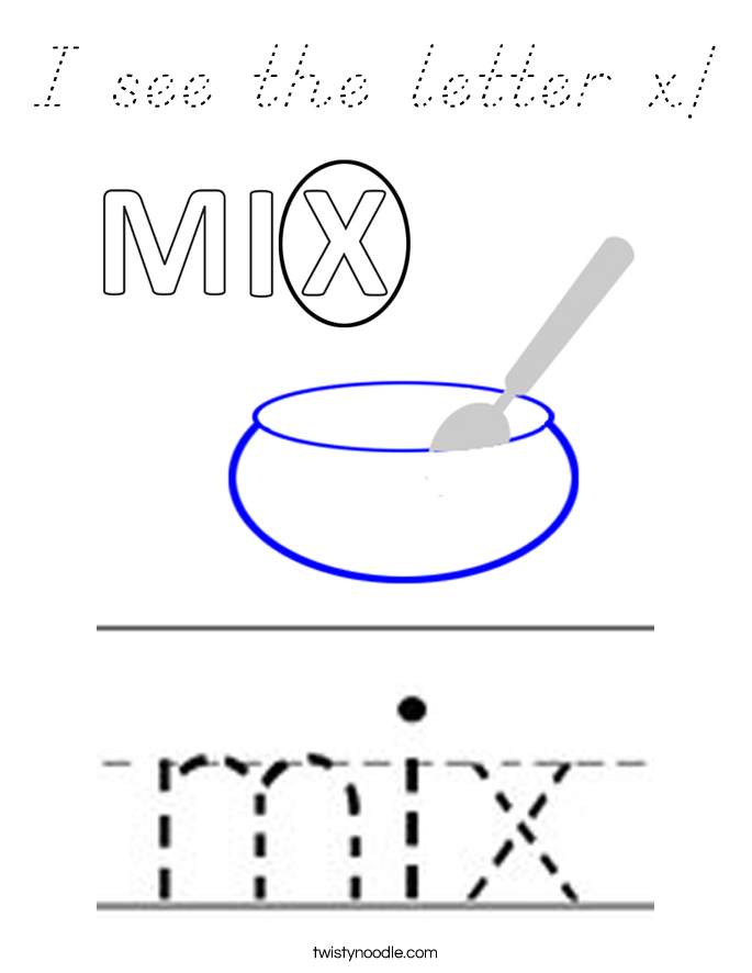 I see the letter x! Coloring Page