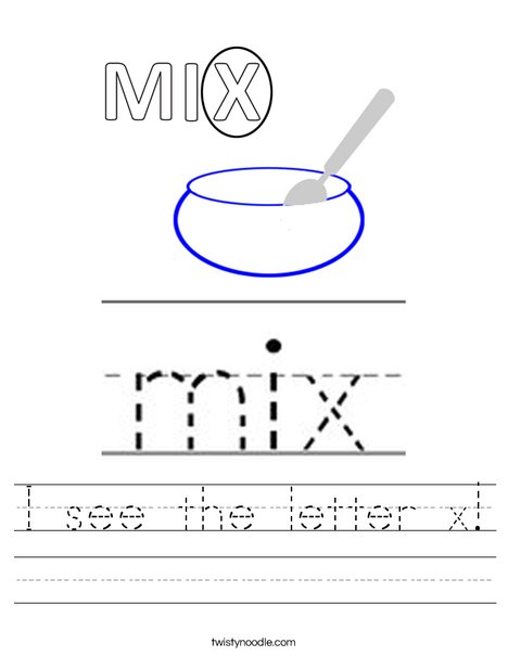 I see the letter x! Worksheet