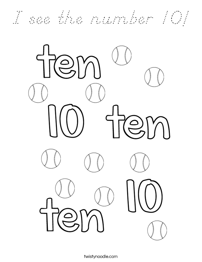 I see the number 10! Coloring Page