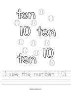 I see the number 10 Handwriting Sheet