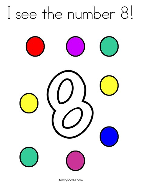 I see the number 8! Coloring Page