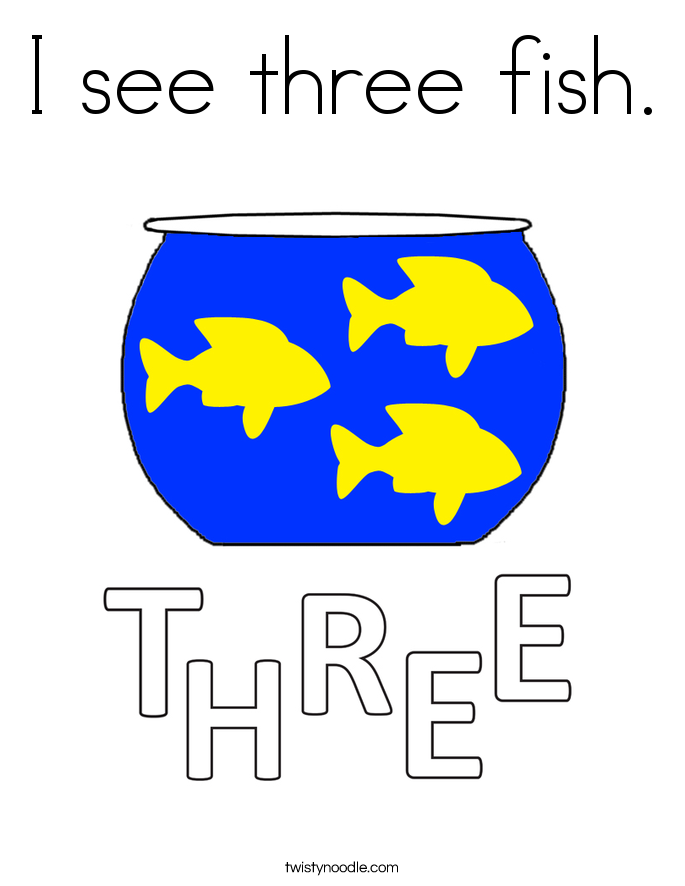 I see three fish. Coloring Page