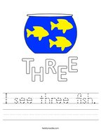 I see three fish Handwriting Sheet