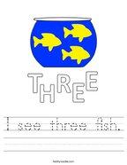 I see three fish Handwriting Sheet