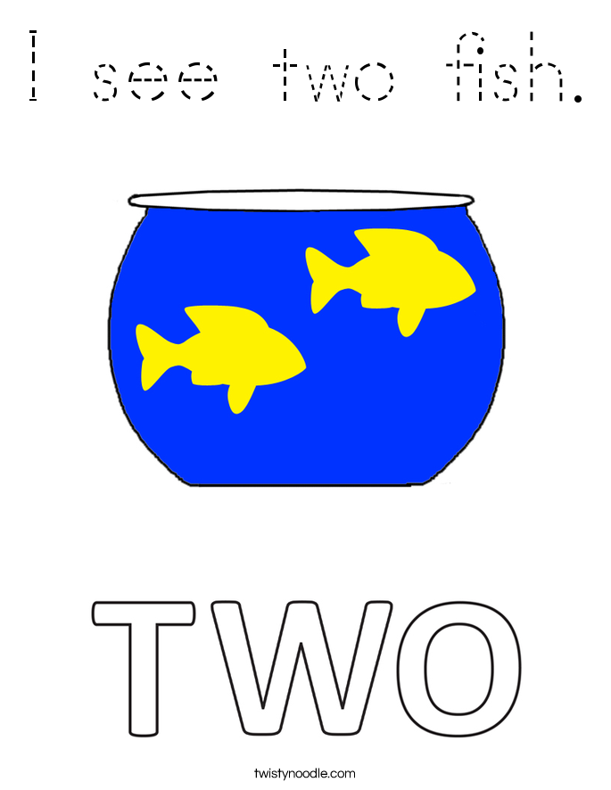 I see two fish. Coloring Page