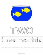 I see two fish Handwriting Sheet